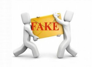 Two stick figures holding an extra large envelope with the word fake written on it.