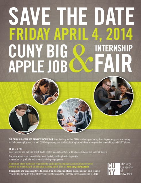 CUNY Big Apple Job and Internship Fair Save the Date