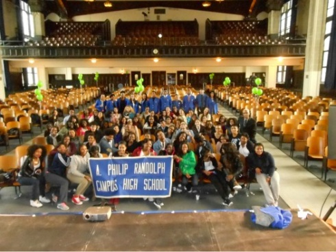 CUNY Corps group and the A. Philip Randolph High School students