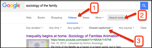 Screenshot illustrating google search for accessible videos